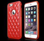 Special Design Metal Bumper Frame Genuine Leather Rear cover for iPhone 6(Assorted Colors)