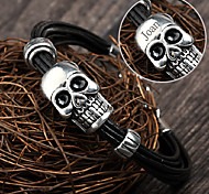 Personalized Gift  Stainless Steel/Leather Skull Shaped Bracelets Engraved Jewelry