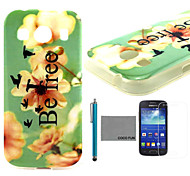 COCO FUN® Be Free Pattern Soft TPU Back Case Cover with Screen Protector and Stylus for Samsung Galaxy Ace 4 G357FZ