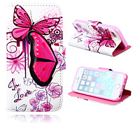 Colorful Butterfly Pattern PU Leather Cover and Random color Capacitance Pen with Stand for iPhone 5/5S