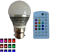 1 pcs SchöneColors® B22 4W 1X 3W LED Dimmable/Music-Controlled/30Keys Remote-Controlled RGB LED Globe Bulbs AC85-265V