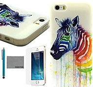 COCO FUN® Colorful Zebra Pattern Soft TPU Back Case Cover with Screen Protector and Stylus for iPhone 5/5S