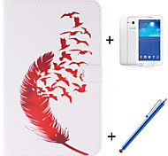 Red Feather Patterns PU Leather Full Body Case with Film and Capacitance Pen  for Samsung Galaxy Tab 3 Lite T110