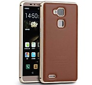 New Genuine Leather Metal Bumper Frame Edge Back Case Skin Cover For Huawei Ascend Mate 7