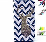 Golden Deer Pattern PU Material Holster And Stylus Pen Dust Plug Bracket Assembly for iPhone 5C