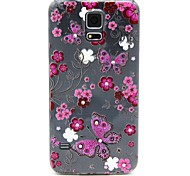 Pink Flowers Butterfly Pattern TPU Diamond Relief Back Cover Case for Samsung Galaxy S5 I9600