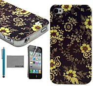 COCO FUN® Yellow Flower Vine Pattern Soft TPU Back Case Cover with Screen Protector and Stylus for iPhone 4/4S
