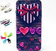 estuche blando don de patrón de amor con la aguja, el enchufe del anti-polvo y de pie de TPU para el iphone 6s más / 6 más