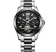 BOS Men's  Stainless Steel Mixed Ceramic Black  Ceramic Strap  Bracelet Black Dial Automatic Mechanical  Watch