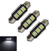 JIAWEN® 3pcs Festoon 36mm 1W 3x5050SMD 60-70LM 6000-6500K Cool White Light LED Car Light (DC 12V)