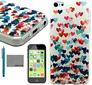 COCO FUN® Colorful Heart Pattern Soft TPU Back Case Cover with Screen Protector and Stylus for iPhone 5C