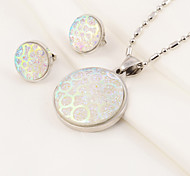 Fashion Round Acrylic Stainless Steel(Necklace&Earrings) Jewelry Set