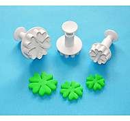 quatre c cœur en forme de coeur coupe sugarcraft de piston en plastique Set 3, gâteau classique outils de décoration