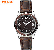 InTimes IT-1052L Quartz watch crystal steel case leather strap watch