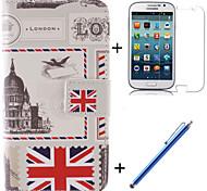 il caso corpo pieno bandiera britannica di design in pelle pu con la pellicola e la penna di capacità per samsung galaxy nucleo 4g g386f /