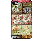 Retro Flower Design Aluminum Hard Case for iPhone 4/4S