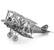 Creative 3D Laser Cute Models Metallic Fokker DV11 Biplane Nano Puzzle - Silver