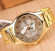 Damen Modeuhr Quartz Metall Band Gold Marke-