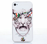 Luxury White Tiger Pattern Ultrathin TPU Soft Back Cover Case for iPhone 4/4S
