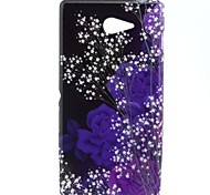 Purple Rose Pattern Soft TPU Case for Sony Xperia M2