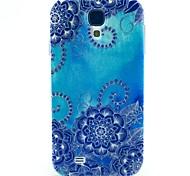 großen blauen Lotus tpu weiche Tasche für Samsung Galaxy i9500 s4