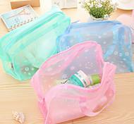 Mesh Pocket Transparent Waterproof Cloth Floral Cosmetic Bag(Random Color)