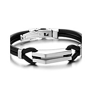 Fashion Men Jewelry Stainless Steel and Rubber Bracelet and Bangle