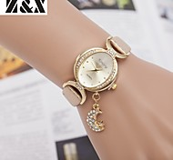 relógio de diamante moda quartzo lua sillicon analógica das mulheres (cores sortidas)