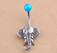 Fashion Stainless Steel Elephant Navel Belly Button Ring Dancing Body Jewelry Piercing