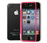 Thin Transparent Clamshell Triple Don't Flip Touch Screen TPU Phone Case for iPhone 4/4S(Assorted Colors)