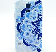 Blue Flowers Pattern TPU Soft Case for S5 I9600