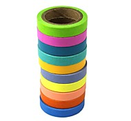 Office DIY Decoration Sticker Hand Color Stationery Paper Adhesive Tape 10Pcs