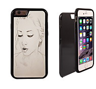 Pencil Sketch Girl Pattern 2 in 1 Hybrid Armor Full-Body Dual Layer Shock-Protector Slim Case for iPhone 6