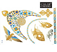 1Pc Gold and Blue Necklace Tattoo Sticker 23x15.5CM