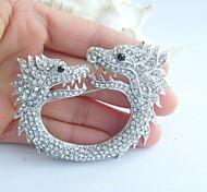 Women Accessories Silver-tone Clear Rhinestone Crystal Dragon Brooch Art Deco Crystal Brooch Pin