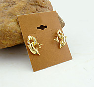 18K Gold Plated Dolphins Zircon Earrings