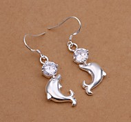 Diamante Dolphin White Silver- Plated drop Earrings(White)(1Pair)