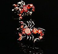 Toonykelly® Fashion Scorpion Men's Red Rhinestone CZ Crystal Cufflink Button(1 Pair)