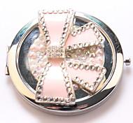 Rosa Schleife Tasche Schminkspiegel Kosmetik Hand tragbaren miroir espelho Espejo de maquiagem bolso maquillaje bling