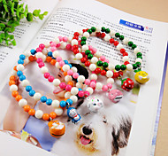 Candy Beaded Necklace + Cartoon Bell For Pets