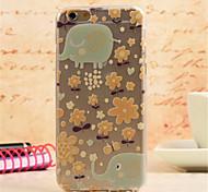 éléphant marche dans le motif de printemps TPU peint dos de doux cas de couverture pour l'iphone 6 plus