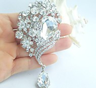 Wedding Accessories Silver-tone Clear Rhinestone Crystal Bridal Brooch Wedding Deco Bridal Bouquet Drop Wedding Brooch