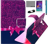 Coco Fun® patrón de leopardo púrpura caja de cuero de la PU con el cine y cable usb y el lápiz para samsung galaxy a5 / A5000
