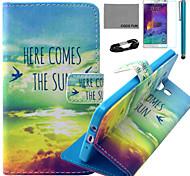 caso padrão sol pássaro couro pu Coco fun® com filme e cabo USB e caneta para Samsung Galaxy a5 / A5000
