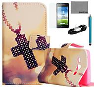 coco FUN® motif de croix de collier étui en cuir PU avec le câble de film et USB et un stylet pour Samsung Galaxy a5 / A5000
