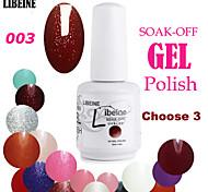 LIBEINE 3 pcs/lot 15 ML UV Color Gel Nail Polish No.003(Night Queen Glitter Red)