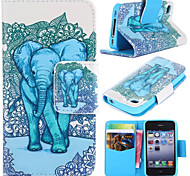 Elephant Pattern with Card Bag Full Body Case for iPhone 4/4S