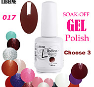 LIBEINE 3 pcs/lot 15 ML UV Color Gel Nail Polish No.017(Blue Red)