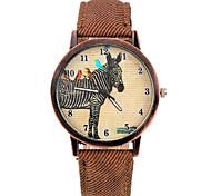 relógio de pulso padrão único zebra banda de couro pu (marrom) (1pcs)