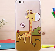 Giraffe Pattern Transparent Drawing TPU Material Mobile Shell for iPhone 6 Plus